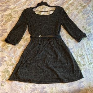 Long Sleeve Black Dress with Silver Threading